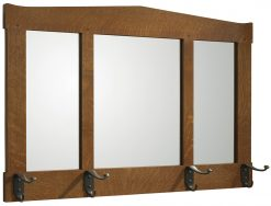 Stickley Three Glass Mirror with Hooks